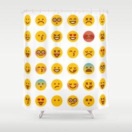 Cute Set of Emojis Shower Curtain