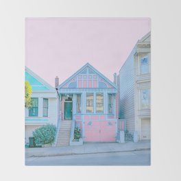 San Francisco Painted Lady Victorian House Throw Blanket