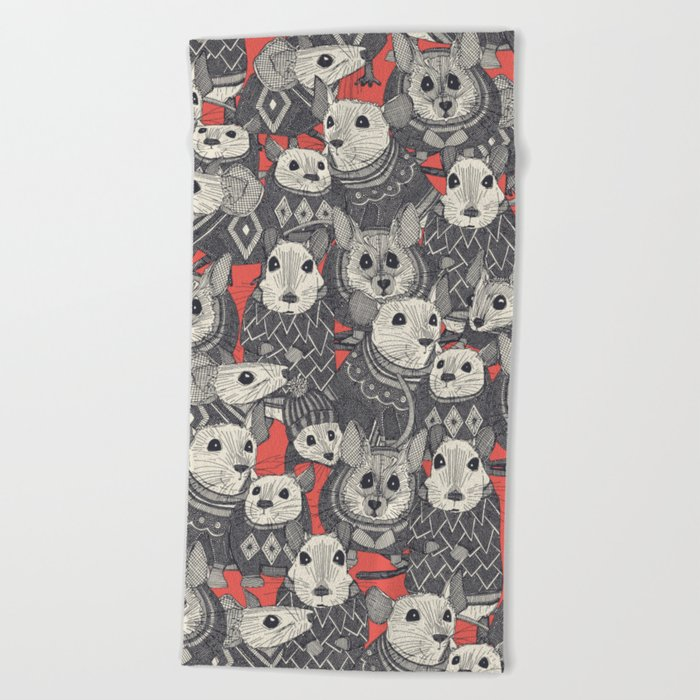 sweater mice coral Beach Towel