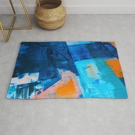 Seaside: a vibrant abstract painting in blue pink and orange by Alyssa Hamilton Art  Rug