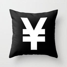 Yen Sign (White & Black) Throw Pillow