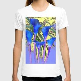 MODERN BLUE CALLA LILIES YELLOW GARDEN T-shirt