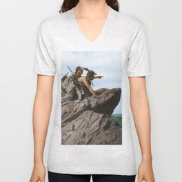 Watching The Herd - American Indians Unisex V-Neck