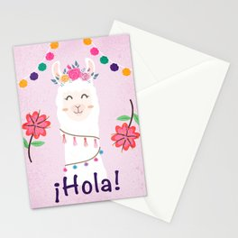 ¡Hola! Cute Pink Alpaca - Boho Llama Illustration Stationery Cards