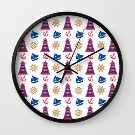 Modern blue red orange watercolor nautical pattern Wall Clock