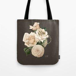 vintage white flowers- love Tote Bag