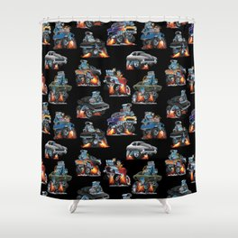 Car Crazy Classic Hot Rod Muscle Cars Cartoons Seamless Pattern Shower Curtain