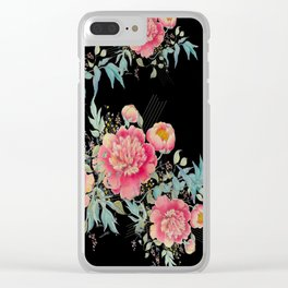 Gipsy paeonia in black Clear iPhone Case