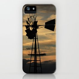 Kansas Sunset with a Windmill Silhouette with Clouds iPhone Case