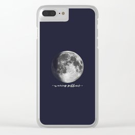 Waxing Gibbous Moon on Navy English Clear iPhone Case