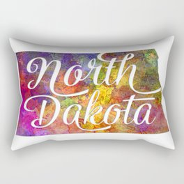 North Dakota US State in watercolor text cut out Rectangular Pillow