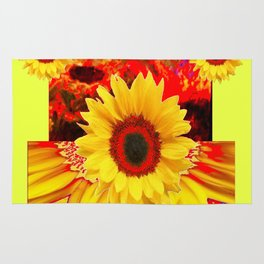 RED & YELLOW SUNFLOWERS MODERN ABSTRACT Rug