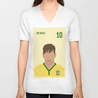 neymar V-neck T-shirts featuring NEYMAR by Anthony Morell