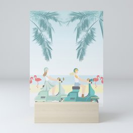 Two friends, tropical scooter ride with flamingos Mini Art Print