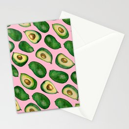pink avacados Stationery Cards
