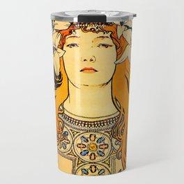 """Alphonse Mucha """"Sarah Bernhardt"""" Travel Mug"""