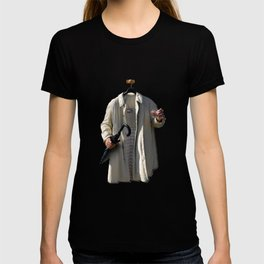 Raincoat of an invisible man with umbrella and watter glass T-shirt