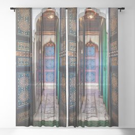 Moroccan painted doors and marble hallway in Marrakech, Morocco Sheer Curtain