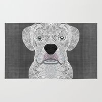 boxer Area & Throw Rugs featuring White Boxer by ArtLovePassion