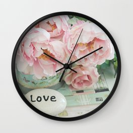 Pink Peonies Shabby Chic Cottage Peony Love Floral Prints Home Decor Wall Clock