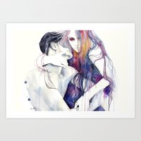 bag Art Prints featuring wakeful by agnes-cecile