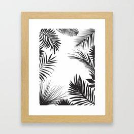 Black And White Palm Leaves Framed Art Print
