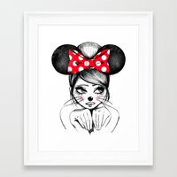 minnie mouse Framed Art Prints featuring Minnie by theavengerbutterfly