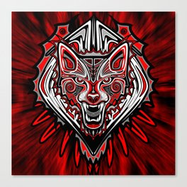 Wolf Tattoo Style Haida Art Canvas Print