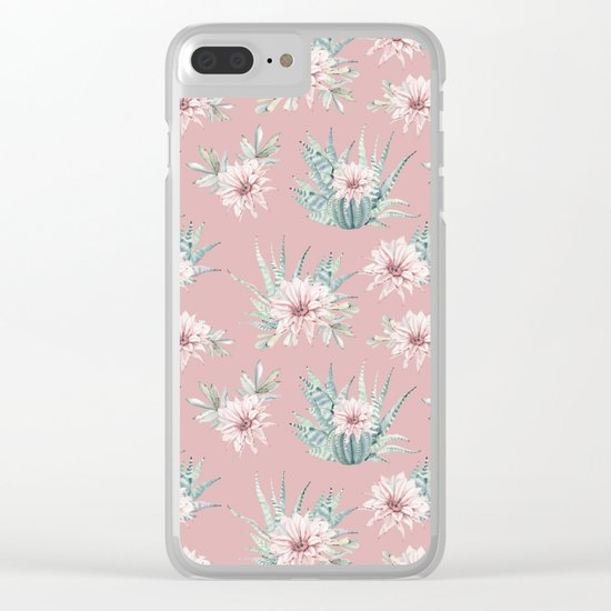 Echeveria Garden Roses Coral Rose Pink Clear iPhone Case