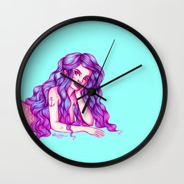 Mermaid Pen Doodle Wall Clock