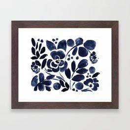 Navy Floral Framed Art Print