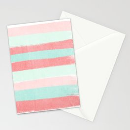 Painterly Stripes abstract trendy colors gender neutral seaside coral tropical minimal Stationery Cards
