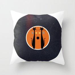 Vinyl Record Art MidCentury Modern Art Cat Double 1.0 Throw Pillow