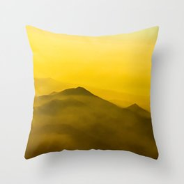 Mountains in clouds - like painting, defocused, abstract stock photo Throw Pillow