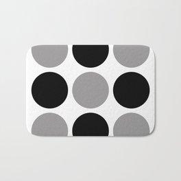 Mid Century Modern Polka Dot Pattern 9 Black and Gray Bath Mat