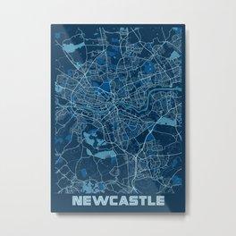 Newcastle - United Kingdom Peace City Map Metal Print