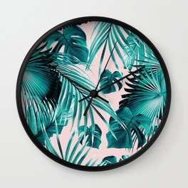 Tropical Jungle Leaves Dream #4 #tropical #decor #art #society6 Wall Clock
