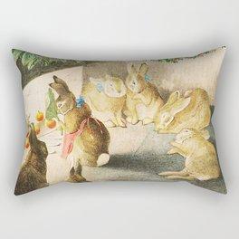 Bunnies roasting apples over an open fire Rectangular Pillow