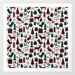 Plaid antler deer stocking christmas pudding christmas trees candy canes Art Print