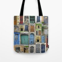 doors Tote Bags featuring doors by Cathy Jacobs