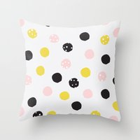 polka dot Throw Pillows featuring Polka Dot  by Naomi Hadfield