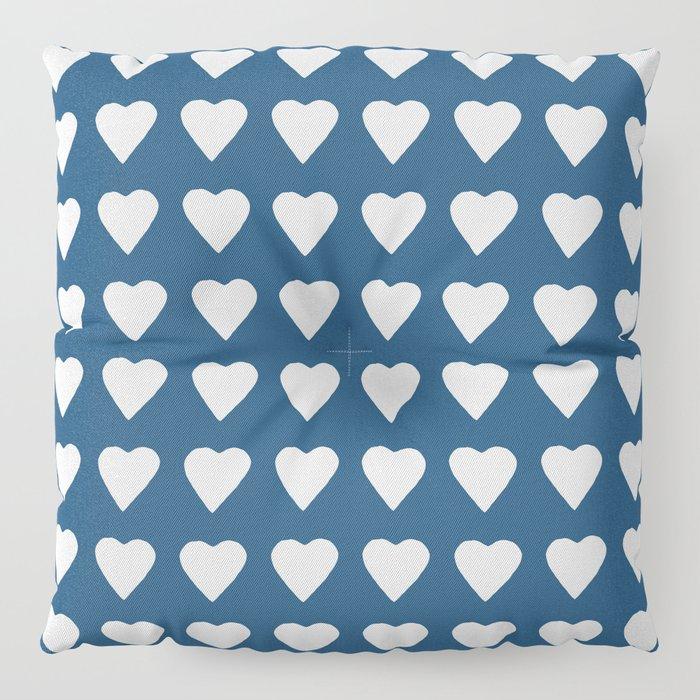 64 Hearts Navy Floor Pillow