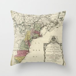 Colonial America Map by Matthaus Lotter (1776) Throw Pillow