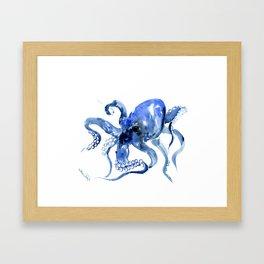 Navy Blue Octopus Artwork Framed Art Print