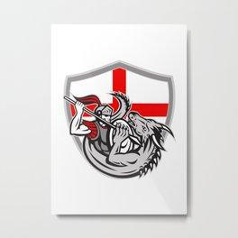 English Knight Fighting Dragon England Flag Shield Retro Metal Print