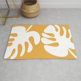 Monstera Pair - Abstract Minimalist Botanical Cutouts in White and Mustard Rug
