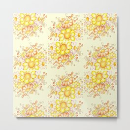 Larger Faded Flowers Tiled Metal Print