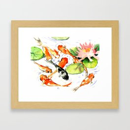 Koi Fish Pond, Feng Shui 9 koi fish art Framed Art Print