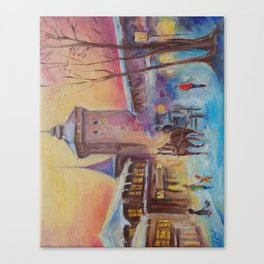 Winter in the old town Street scene Old City Christmas illustration Oil painting Canvas Print