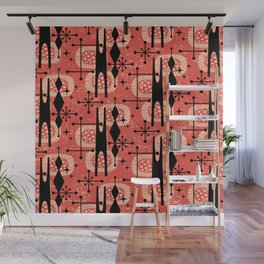 Retro Atomic Mid Century Pattern 771 Red Wall Mural